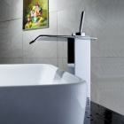 Modern Chrome Waterfall Bathroom Faucet (Tall)