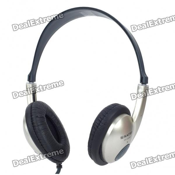 Stylish Headphone w/ Microphone - Silver + Black (3.5mm Jacks/2.4m-Cable)