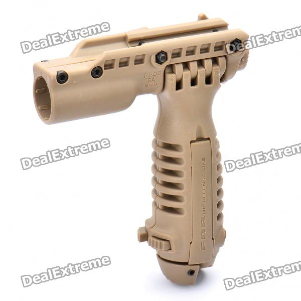 Tactical Grip/Flashlight holder with Retractable Spring Bipod Stand for Gun - Khaki