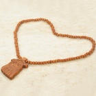 Wooden Jesus Statue Bead Necklace (70cm)