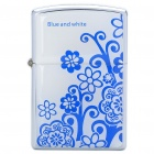 HOLI Blue and White Porcelain Pattern Stainless Steel Fuel Lighter - Silver + White + Blue