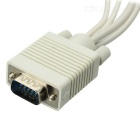 VGA-to-TV 3RCA + S-Video Cable - White + Multi-colored