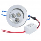3W 3200K 100-Lumen 3-LED Warm White Light Ceiling Down Lamp w/ Driver - Silver (AC 85~265V)