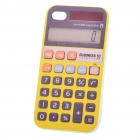 Creative Calculator Style TPU Back Case + Protective Film for Iphone 4 - Yellow