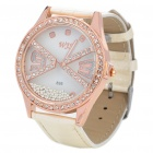 Stylish Water Resistant Leather Band Rhinestone Wrist Watch - White