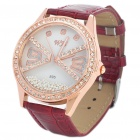 Stylish Water Resistant Leather Band Rhinestone Wrist Watch - Dark Red