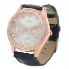 Stylish Water Resistant Leather Band Rhinestone Wrist Watch - Black