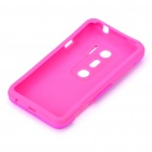 Protective Aluminum + Silicone Back Case for HTC EVO 3D - Deep Pink