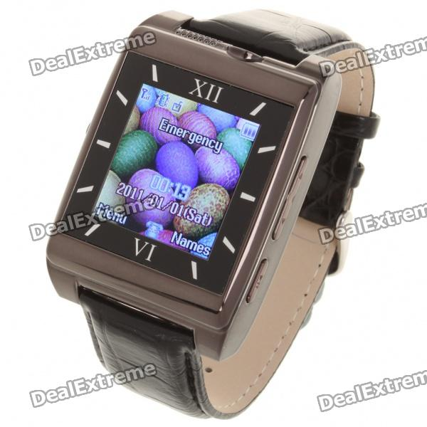 """Watch Style 1.4"""" Touch TFT Quadband GSM Cell Phone w/ Bluetooth + FM + Java - Black"""
