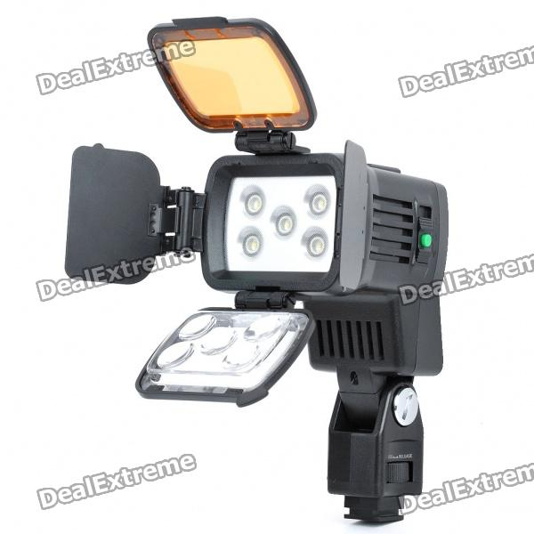 10W 4500K/3200K 2-Mode 400LM/900LM 5-LED White Video Light with Filters for Camera/Camcorder - DXLighting &amp; Flash<br>Model: NBK-LBPS900 - 5-LED white lights - Power: 10W - Illumination angle: 90 degrees astigmia/45 degrees spotlight beam - Adjustable color temperature: 4500K / 3200K - Luminous flux: 400 lux / 900 lux - High beam / low beam adjustable - With filter included - Can use Sony F970 battery (6h working time) / F770 battery (4h working time) or can connect to Sony camera directly - Suitable for Sony HVR-AIC/HVR-VIC/HVR-Z5C/HVR-Z7C/DSR-PD198P/HVR-HD1000C DSR-600PL/DSR-650WSP/MSW-930P/DVW-970P Nikon D3100/5100/D7000/D90/D5000 Canon 500D/5D/60D/7D/600D/55D Olympus E-5/E-73/E-PL1/E-PL23 etc. - Package includes: - 1 x Video light - 1 x Cold shoe - 1 x Power cable (48cm length) - 1 x Carrying pouch - 1 x Shoulder strap (55~108cm length) - 1 x English manual<br>