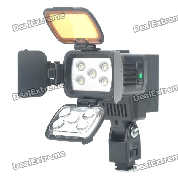 10W 4500K/3200K 2-Mode 400LM/900LM 5-LED White Video Light with Filters for Camera/Camcorder