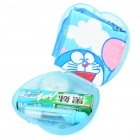 Doraemon Toothbrush + Towel + Toothpaste + Soap Travel Set - Blue + White + Pink (5-Piece Set)