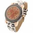 Fashion Leopard Grain Leder Band Strass Quarz-Armbanduhr (1 x 377)