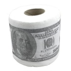 Creative 100 Dollar Bill Pattern Roll Tissue - White + Deep green