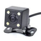 4-LED Waterproof Vehicle Car Rear View Camera Video - Black (12V/PAL)