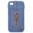 Creative Protective Zipper Jeans Style Cover Case for iPhone 4 - Blue