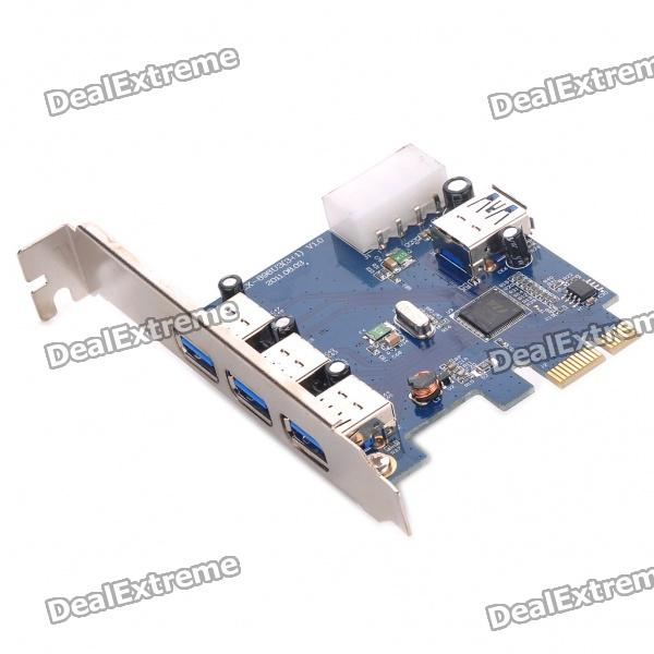 Super Speed USB 3.0 3+1 Port PCI-E Express Card (5Gbps) pci express pci e usb 3 0 card 2 ports expresscard mini usb3 gigabit card adapter for desktop computer 5gbps super speed