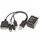 USB AC Power Adapter w/ 4-in-1 USB to Mini USB/Micro USB/iPhone/Nokia 2.0mm Cable (AC 100~240V)