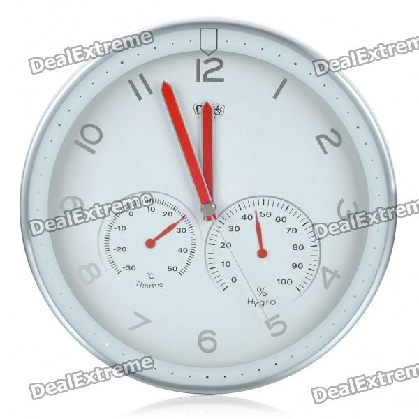 """Modern 12"""" Metal Round Wall Clock w/ Thermometer Hygrometer Dial - White (1 x AA)"""