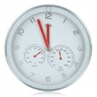 "Modern 12"" Metal Round Wall Clock w/ Thermometer Hygrometer Dial - White (1 x AA)"