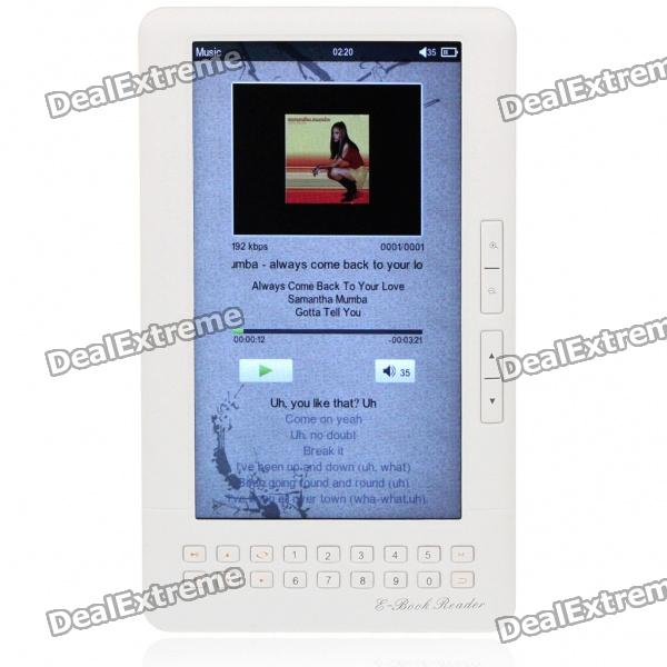 "7.0"" LCD E-Book Reader Multimedia Player w/TF/Dual 3.5mm Audio Jacks - White (4GB)"