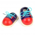 Stylish Wooden Shoes Toy for Tieing Shoelace Training - Red + Blue (Pair/Set)
