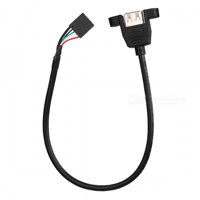 USB 2.0 Female to Motherboard 5 Pin Header Male Cable w/ Mount Holder (30cm)