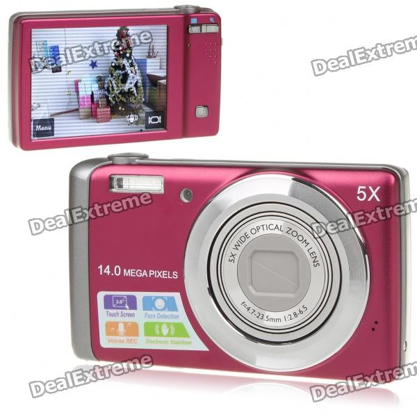 """5.0MP Digital Camera Camcorder w/ 5X Optical Zoom/AV-Out/SD (3.0"""" Touch Screen)"""