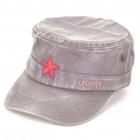 Antique Finish Flat Top Five-pointed Star Hat - Taupe + Red
