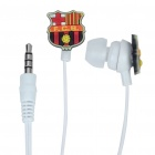 Trendy Barcelona Badge Mini In-ear Cushion Style Stereo Voice Earphone - White + Red