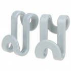 Mini ABS Cloth/Gadget S Hooks - Grey (2-Pack)