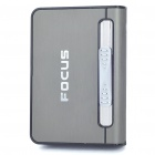 Focus Black Nickel Wiredrawing Cigarette Case Dispenser with Butane Jet Torch Lighter (Holds 12)