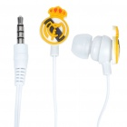 Trendy Real Madrid Badge Mini In-ear Cushion Style Stereo Voice Earphone - White + Yellow