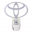 Decorative Toyota Stand Badge Emblem Sticker - Silver