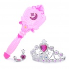 Cute Multi-color Light Sound Effects Princess Magic Stick Toys Set for Kids - Pink (3 x L1154)