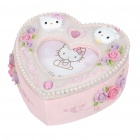 Cute Resin Heart Shaped Hello Kitty Photo Frame Jewelry Box - Pink