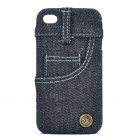 Creative Jeans Style Protective Back Case for Iphone 4 - Black