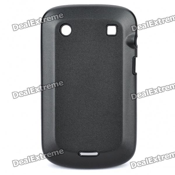 Protective Aluminum Alloy Cover Silicone Back Case for BlackBerry 9900 Bold - Black