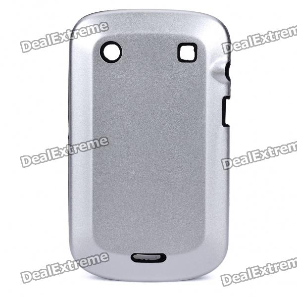 Protective Aluminum Alloy Cover Silicone Back Case for BlackBerry 9900 Bold - Silver + Black