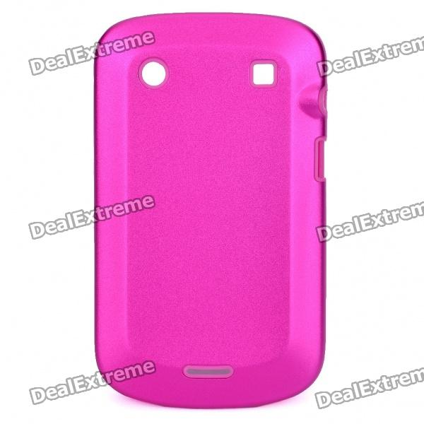 Protective Aluminum Alloy Cover Silicone Back Case for BlackBerry 9900 Bold - Pink