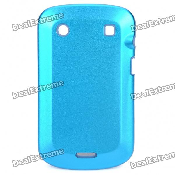 Protective Aluminum Alloy Cover Silicone Back Case for BlackBerry 9900 Bold - Light Blue