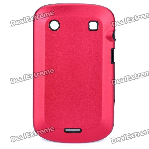 Protective Aluminum Alloy Cover Silicone Back Case for BlackBerry 9900 Bold - Red