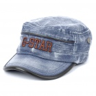 Stylish Worn Look Flat Top Cotton Fabric Hat/Cap - Blue