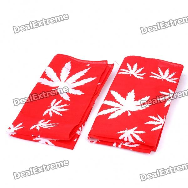Stylish Marijuana Pattern Multi-Function Square Cotton Scarf - Red (Pair)