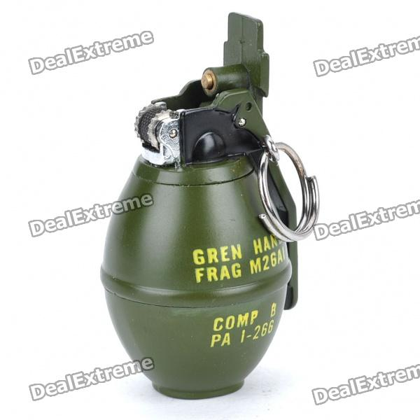 Stainless Steel Military Grenade Bomb Shaped Fuel Fluid Lighter with Flints