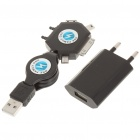 USB AC Power Charger w/ Multi-Function Cellphone Charging Adapter Set - Black (AC 100-240V)