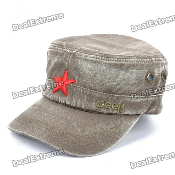 Worn Look Flat Top Red Star Hat - Grey brushed cotton twill ivy hat flat cap by decky brown
