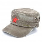 Worn Look Flat Top Red Star Hat - Grey