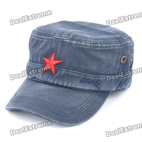 Worn Look Flat Top Red Star Hat - Blue brushed cotton twill ivy hat flat cap by decky brown