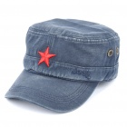Worn Look Flat Top Red Star Hat - Blue